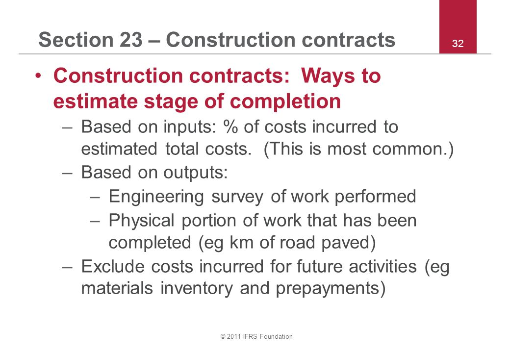 Section 23 – Construction contracts