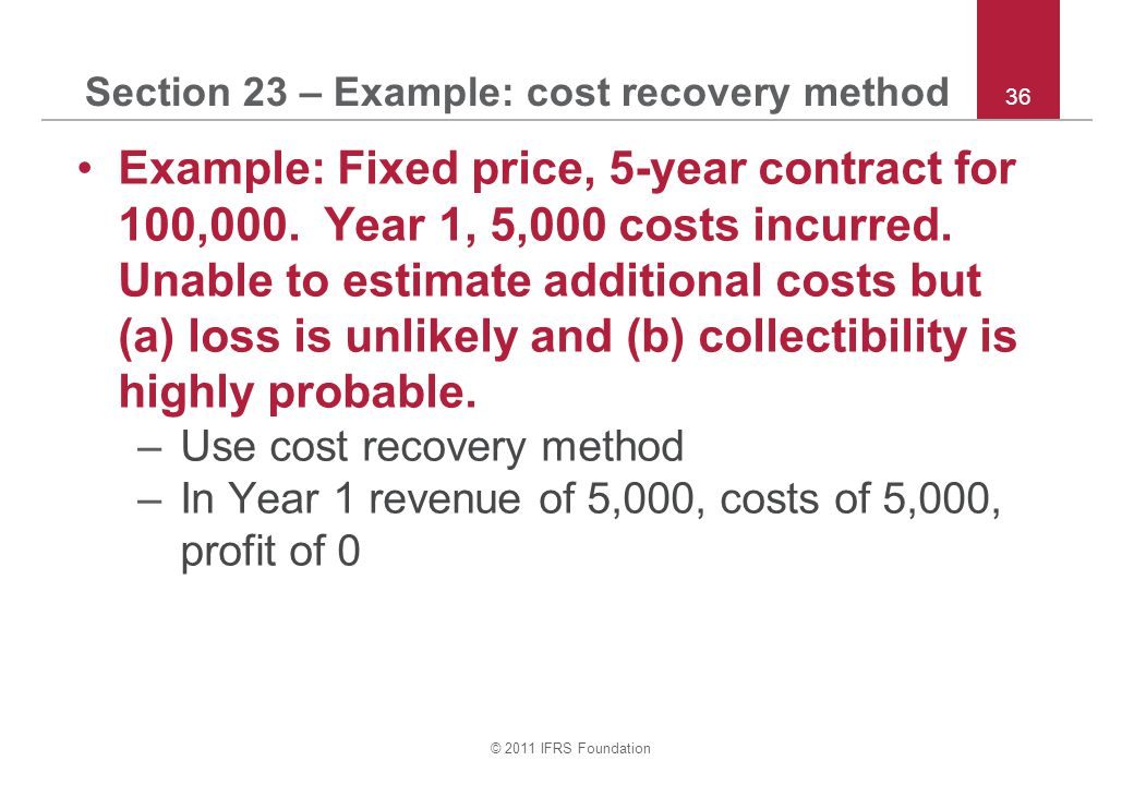 Section 23 – Example: cost recovery method