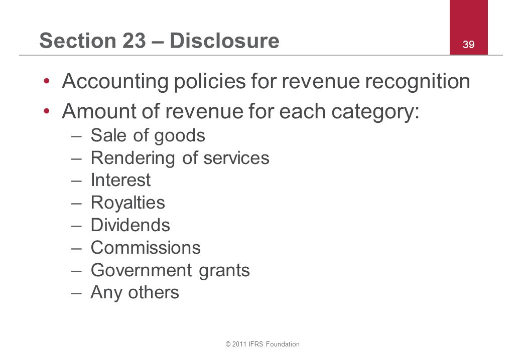 Accounting policies for revenue recognition