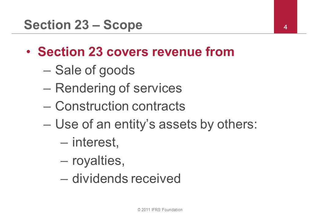 Section 23 covers revenue from Sale of goods Rendering of services