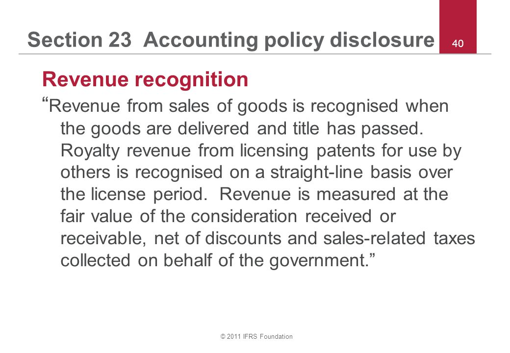 Section 23 Accounting policy disclosure