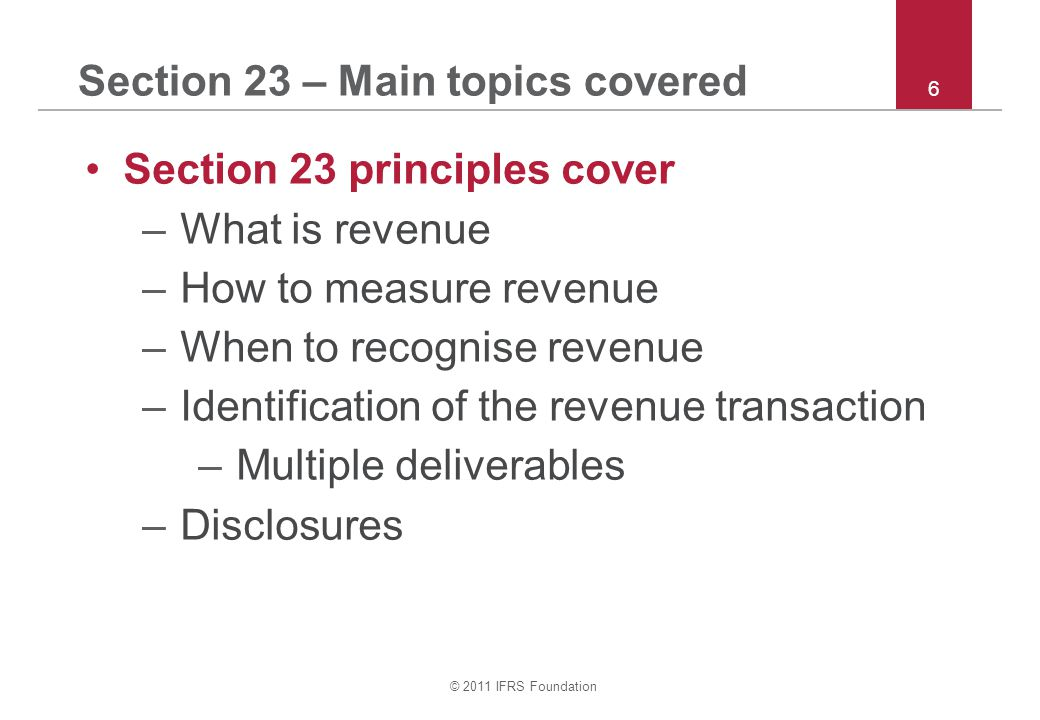 Section 23 – Main topics covered