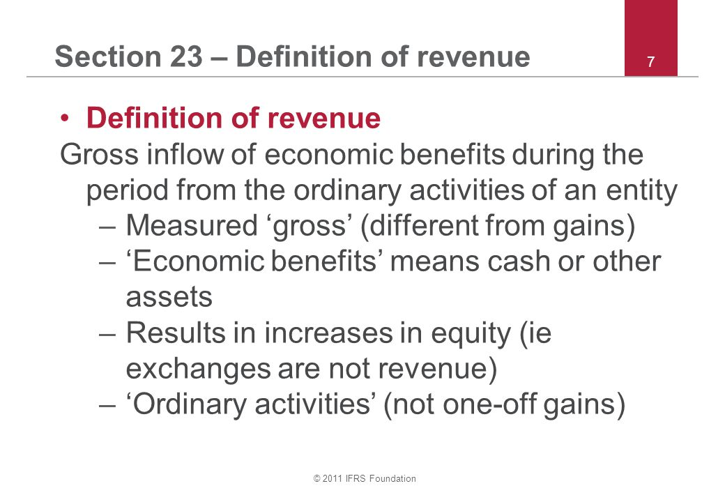 Section 23 – Definition of revenue