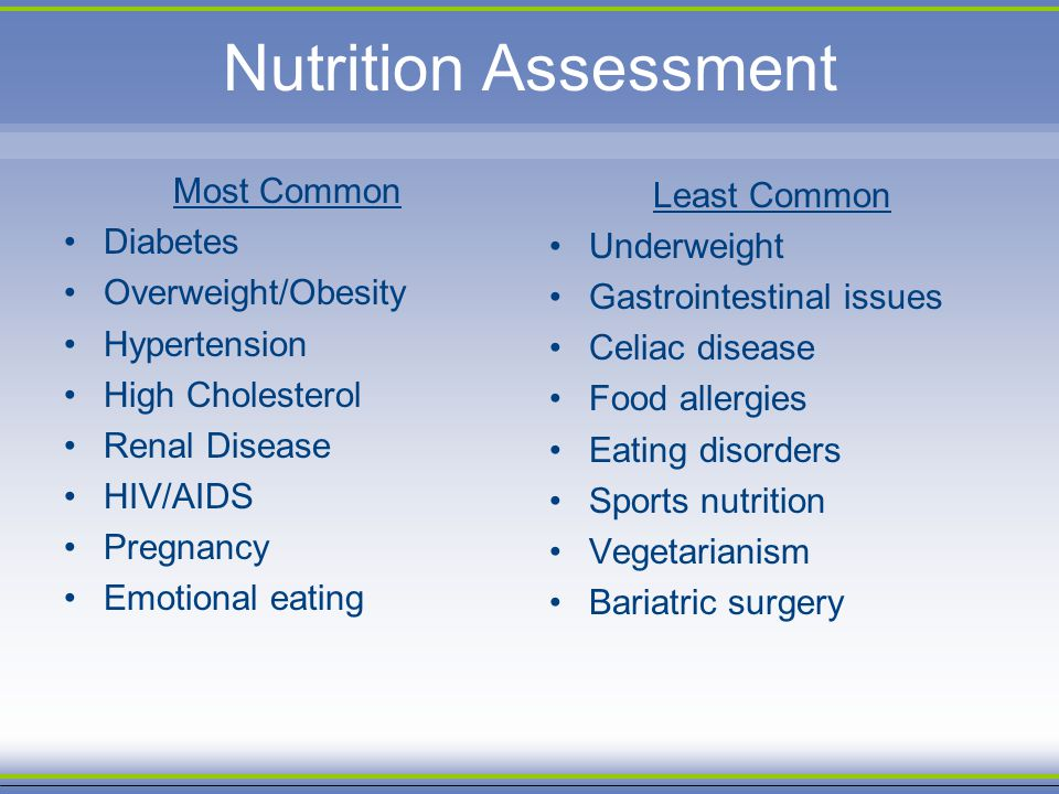 Nutrition Assessment Most Common Diabetes Overweight/Obesity