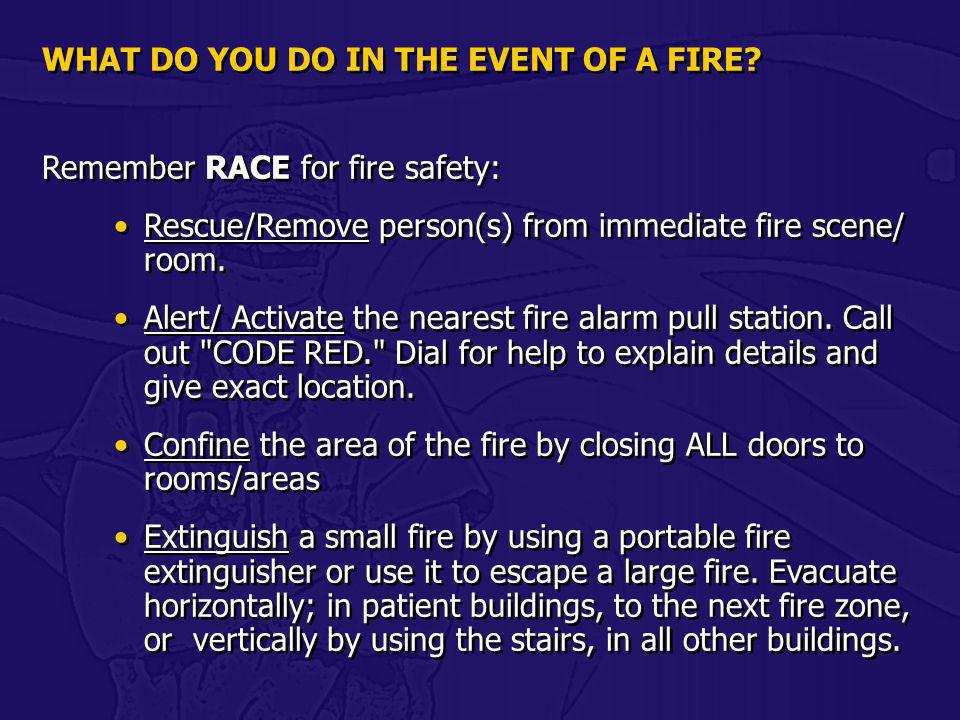WHAT DO YOU DO IN THE EVENT OF A FIRE