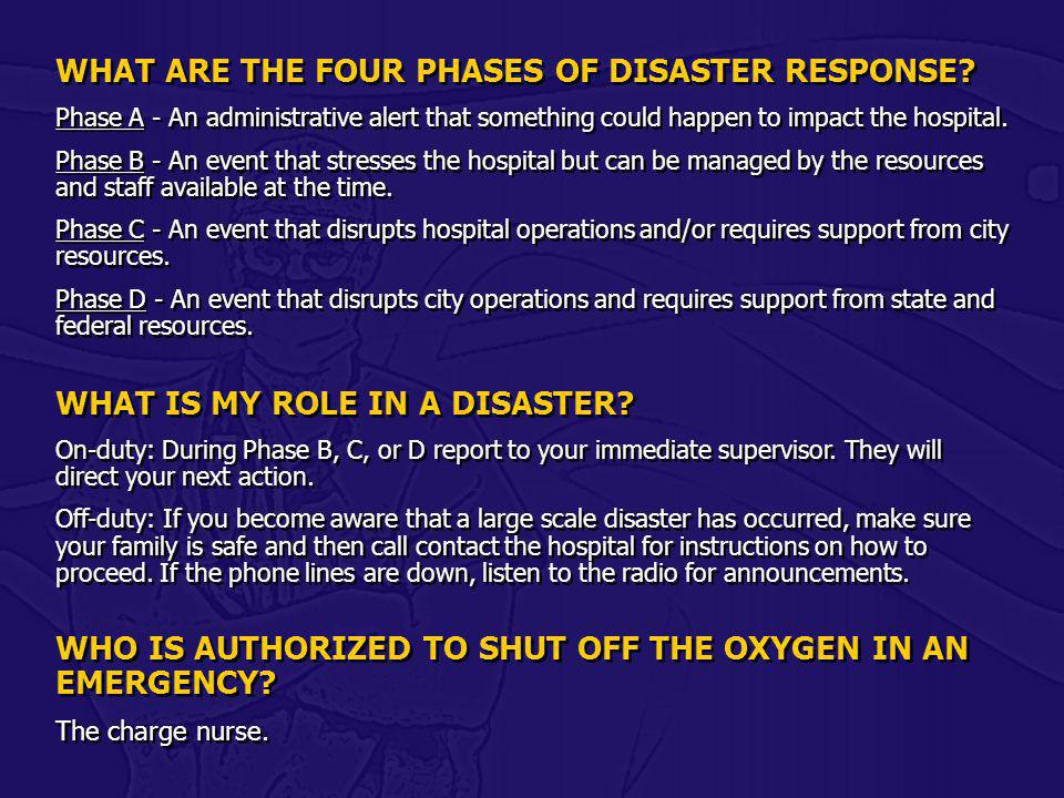 WHAT ARE THE FOUR PHASES OF DISASTER RESPONSE
