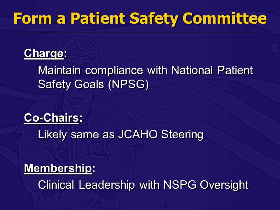 Form a Patient Safety Committee