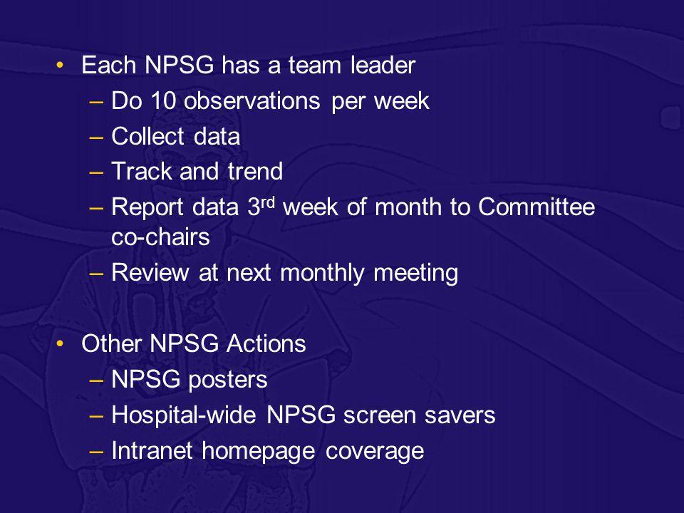 Each NPSG has a team leader