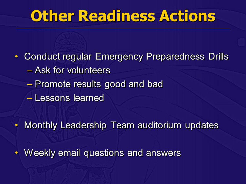 Other Readiness Actions