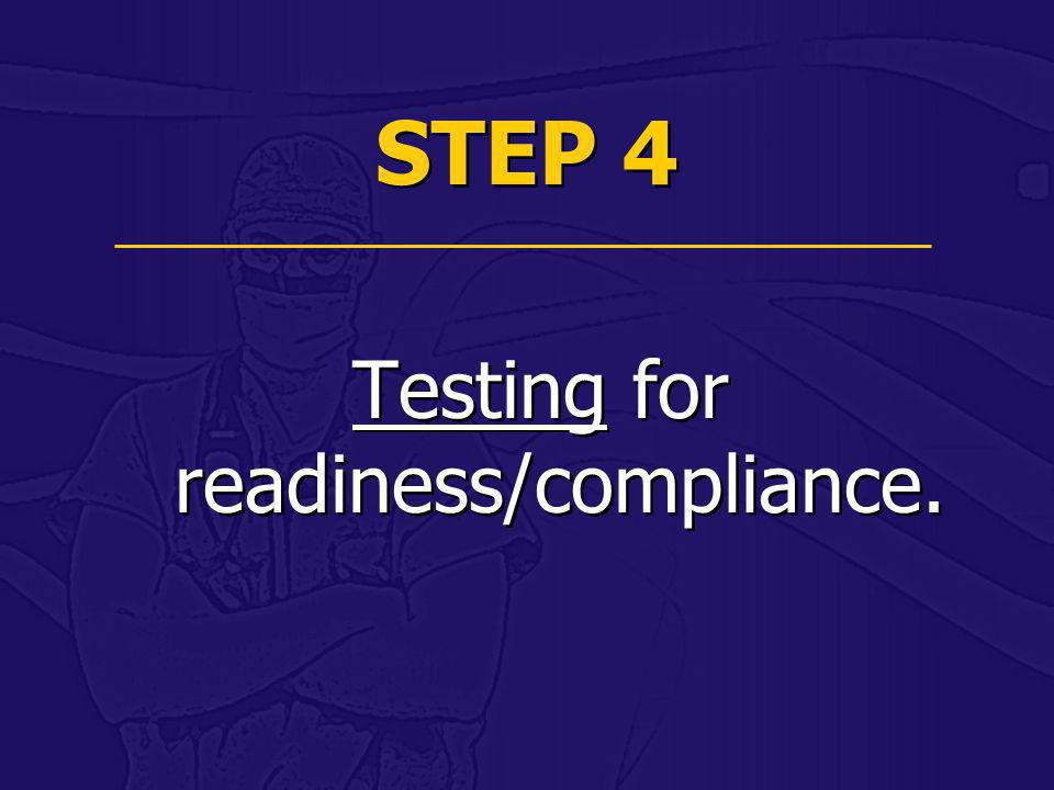 Testing for readiness/compliance.