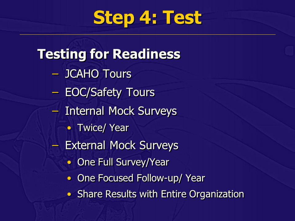 Step 4: Test Testing for Readiness JCAHO Tours EOC/Safety Tours