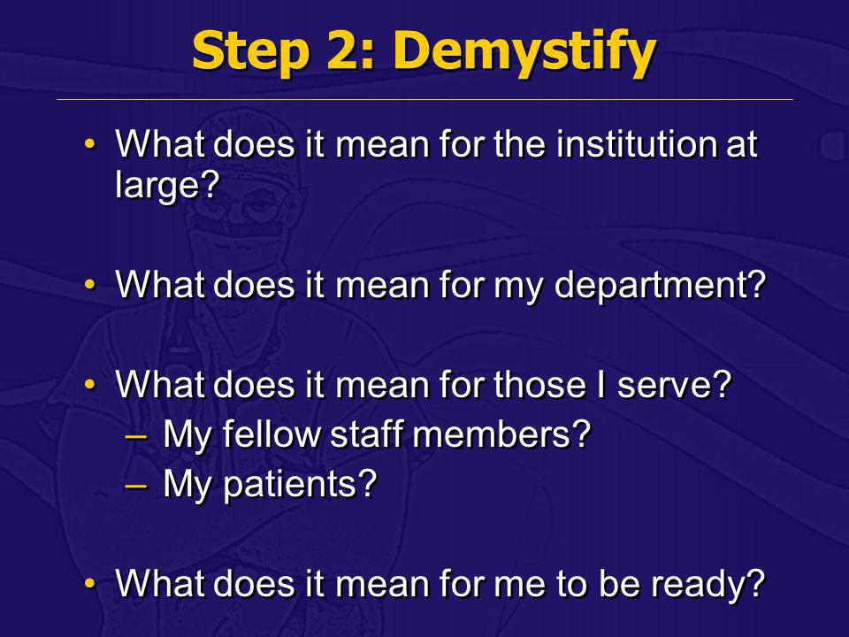 Step 2: Demystify What does it mean for the institution at large