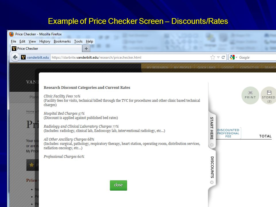 Example of Price Checker Screen – Discounts/Rates