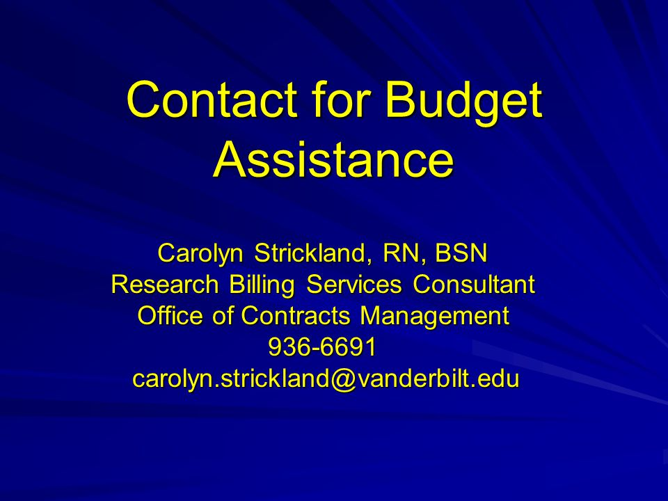 Contact for Budget Assistance