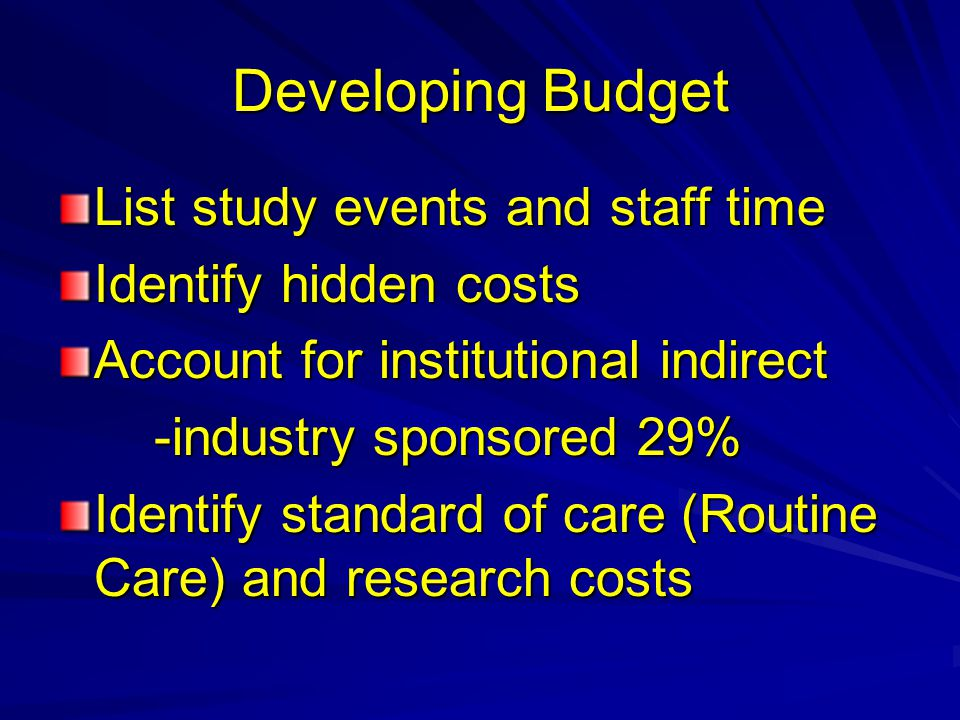 Developing Budget List study events and staff time