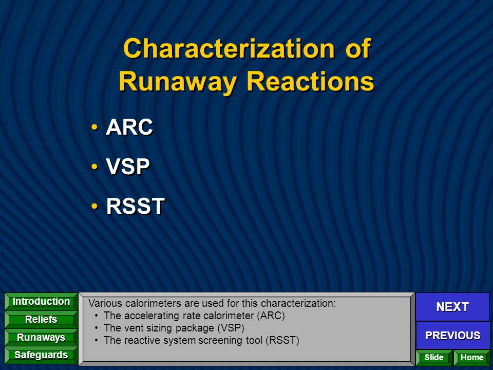 Characterization of Runaway Reactions