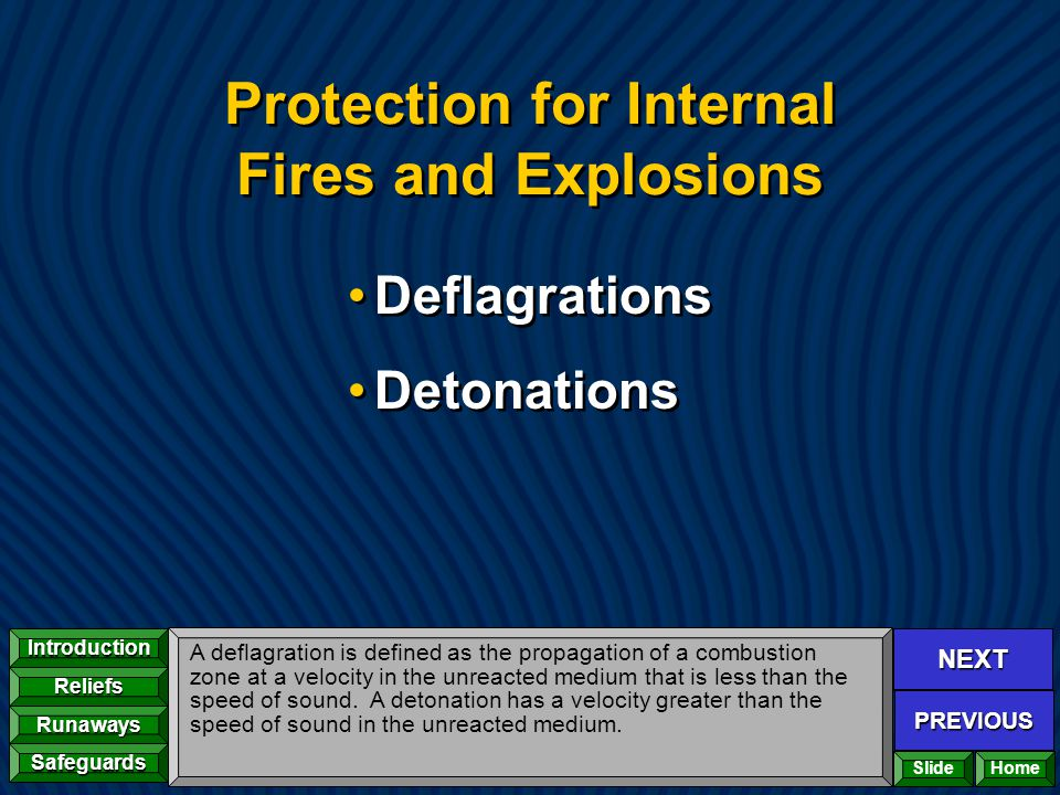 Protection for Internal Fires and Explosions