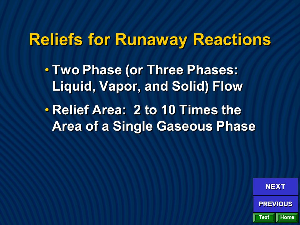 Reliefs for Runaway Reactions