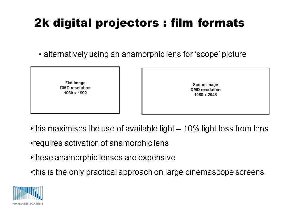 2k digital projectors : film formats • alternatively using an anamorphic lens for 'scope' picture