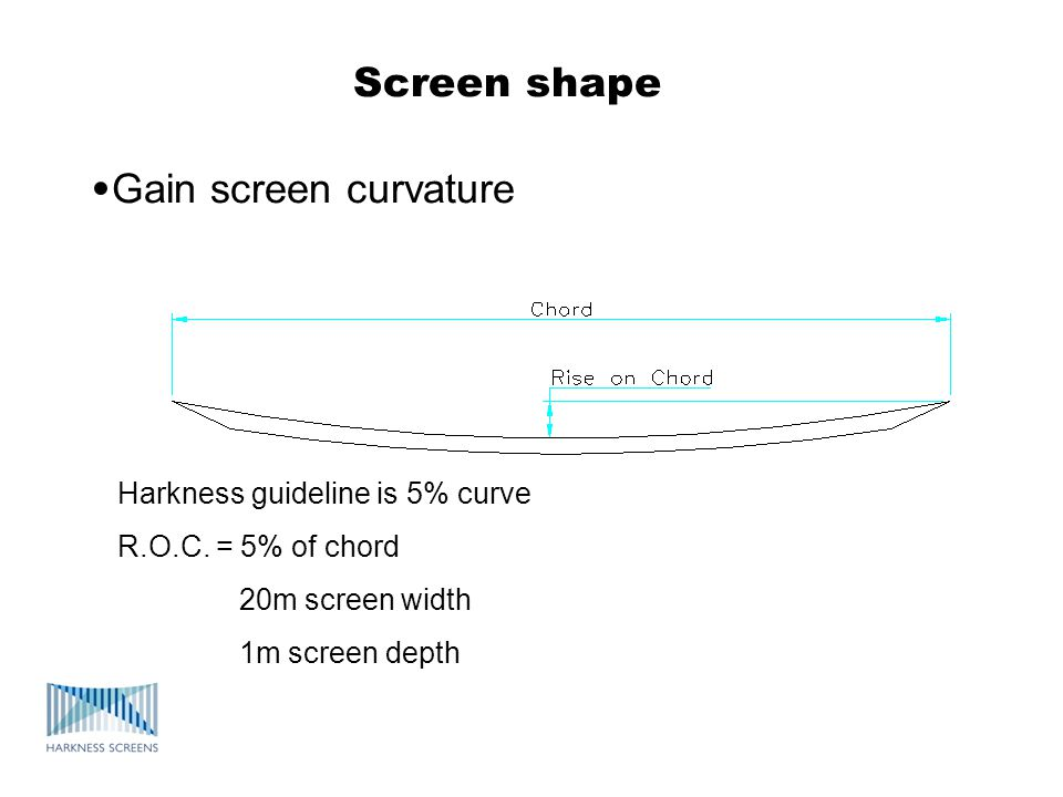 Screen shape •Gain screen curvature