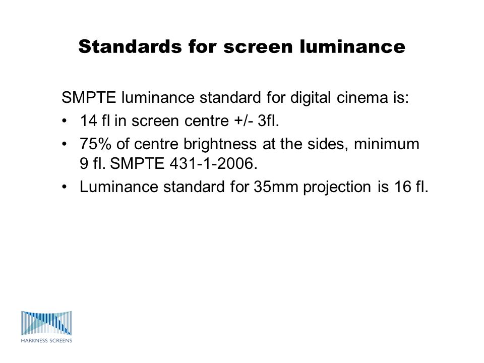 Standards for screen luminance