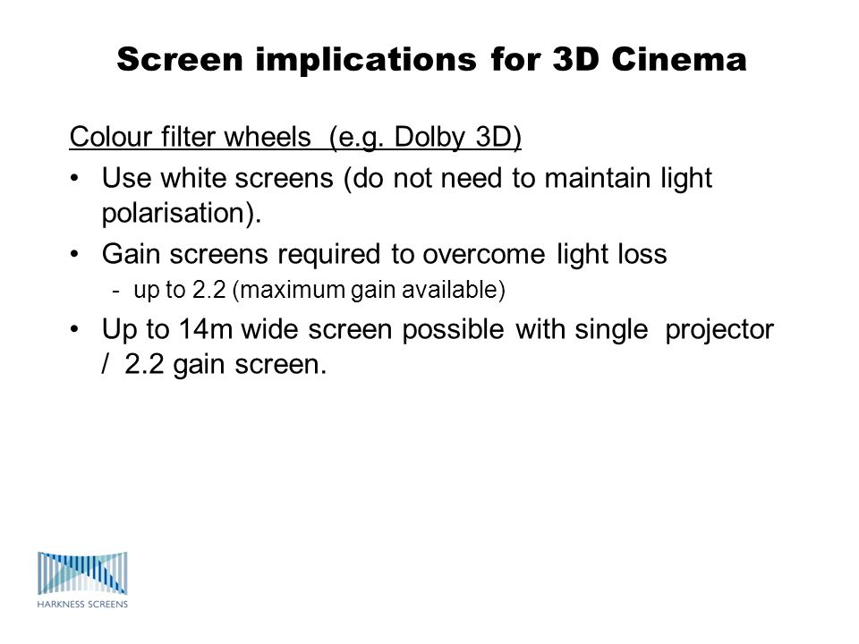 Screen implications for 3D Cinema