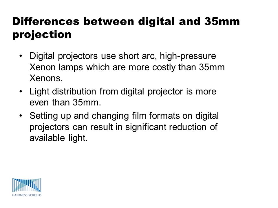 Differences between digital and 35mm projection