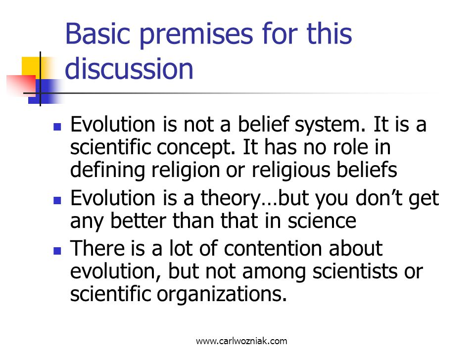 Basic premises for this discussion
