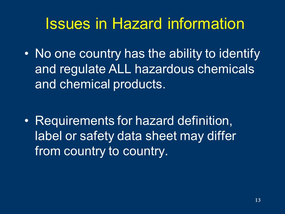 Issues in Hazard information