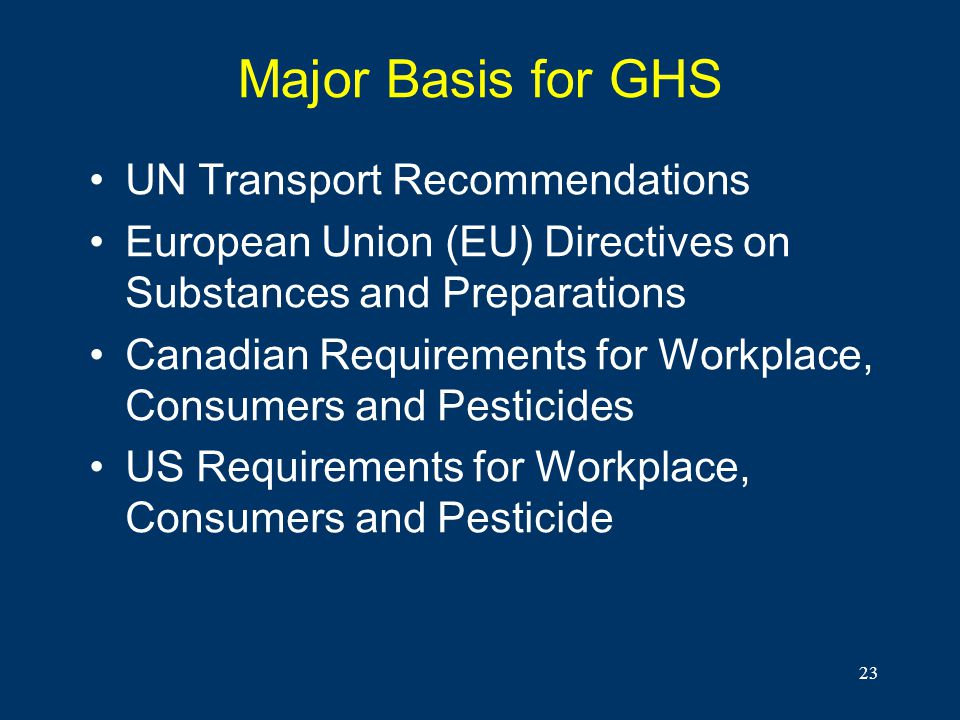Major Basis for GHS UN Transport Recommendations