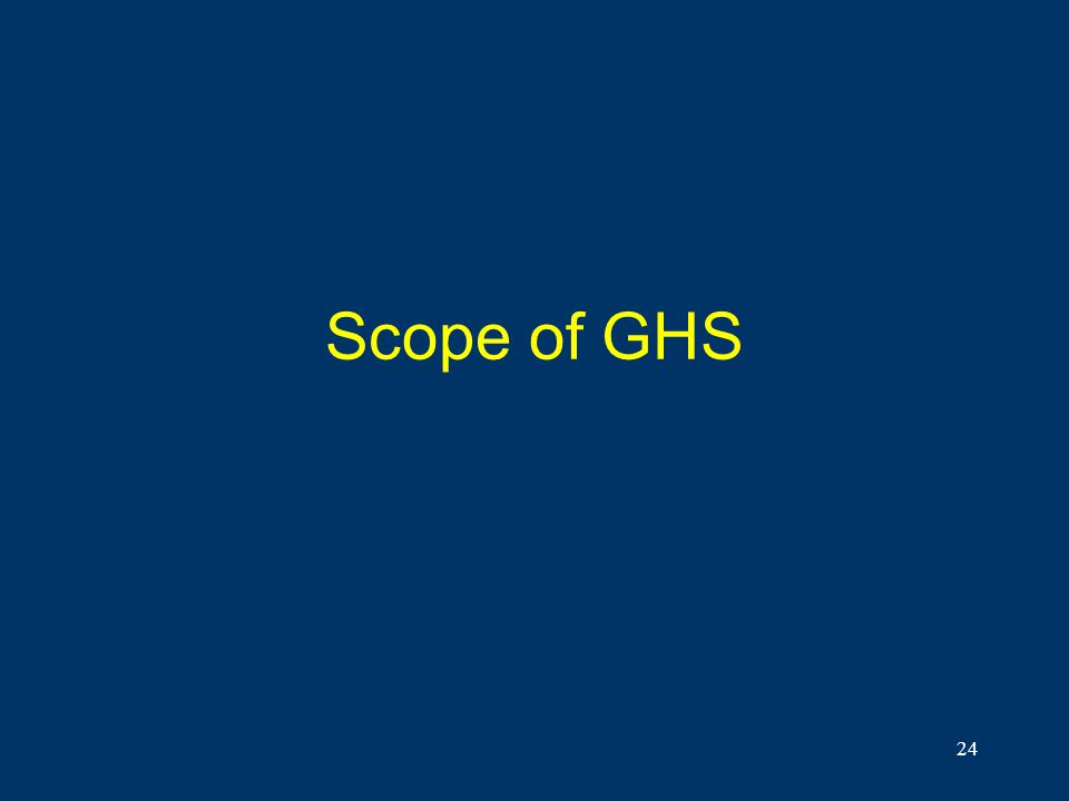 Scope of GHS