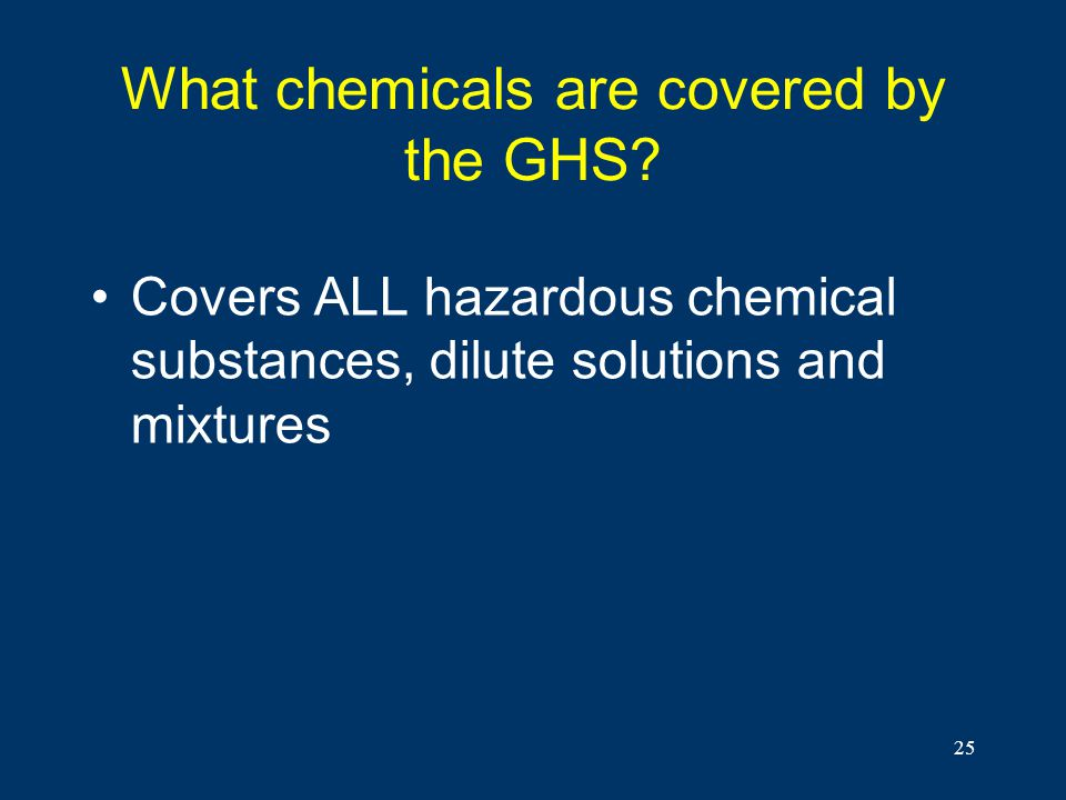 What chemicals are covered by the GHS