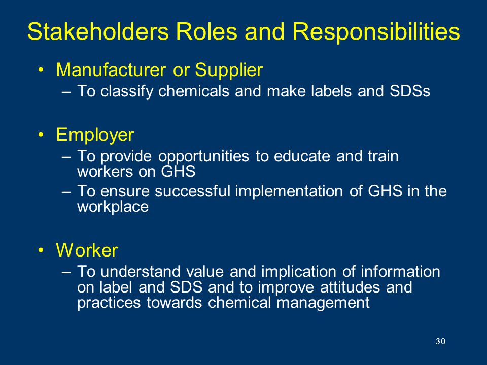 Stakeholders Roles and Responsibilities