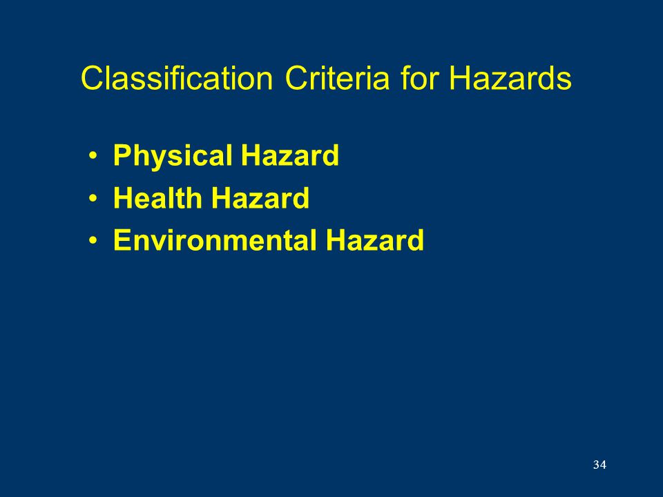 Classification Criteria for Hazards