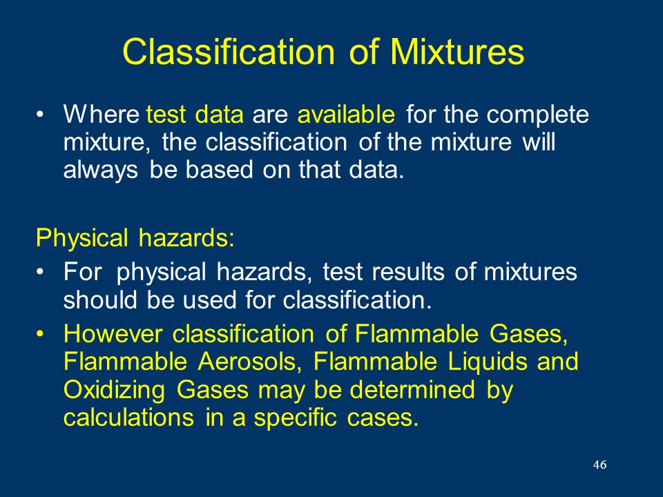 Classification of Mixtures