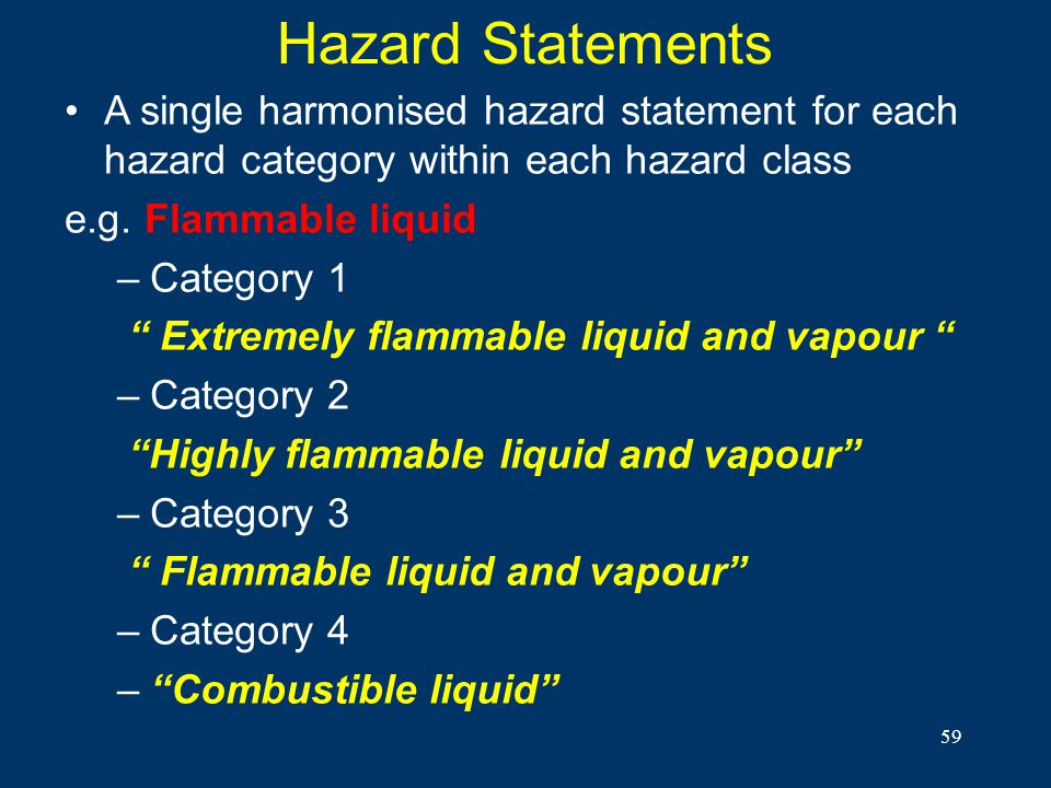 Hazard Statements A single harmonised hazard statement for each hazard category within each hazard class.
