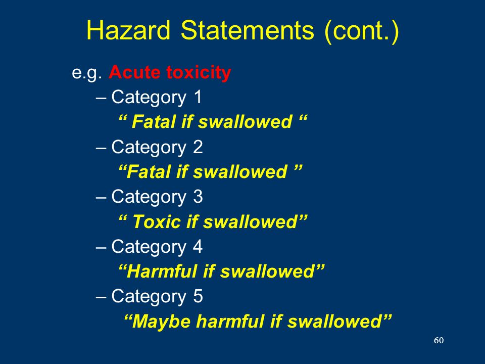 Hazard Statements (cont.)