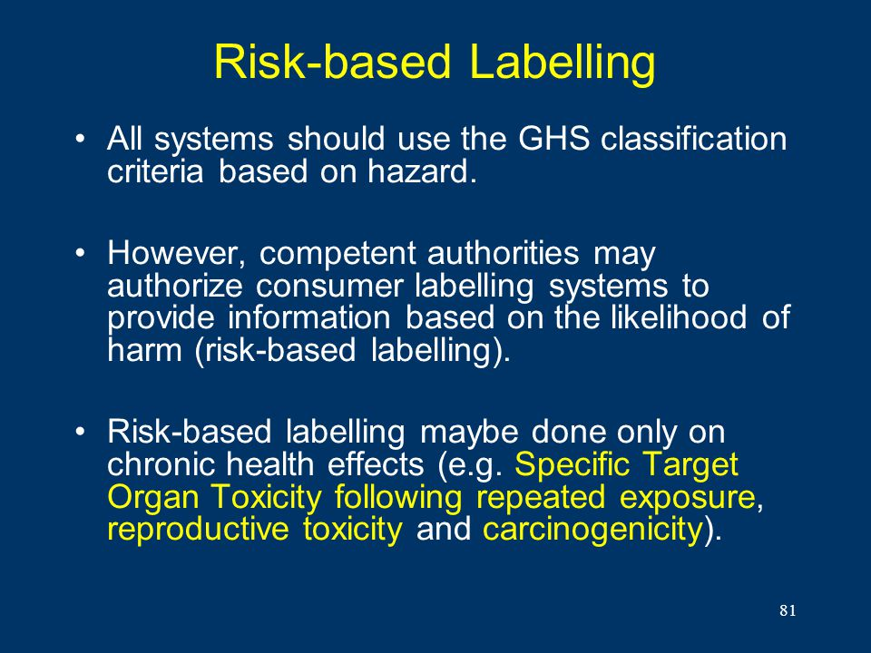 Risk-based Labelling All systems should use the GHS classification criteria based on hazard.