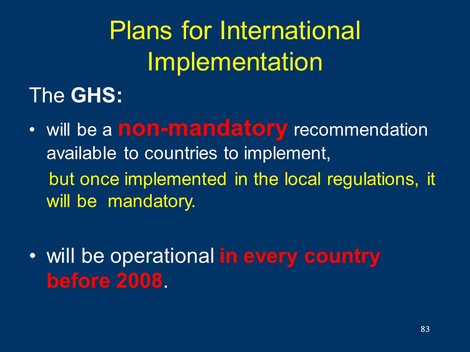 Plans for International Implementation