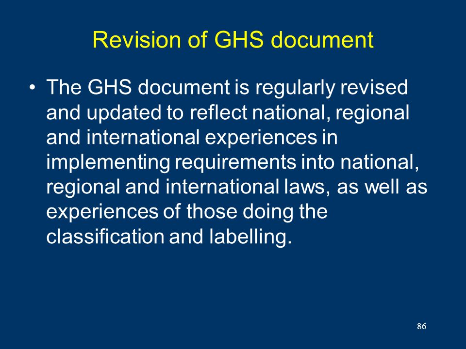 Revision of GHS document