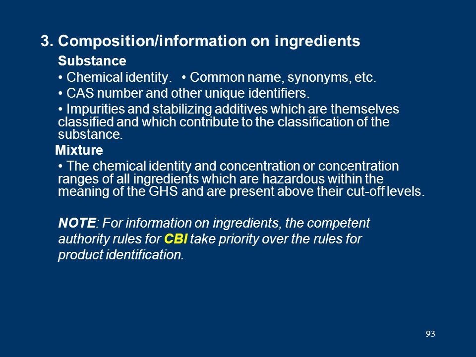 3. Composition/information on ingredients Substance
