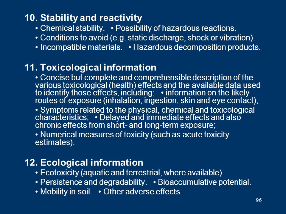 10. Stability and reactivity