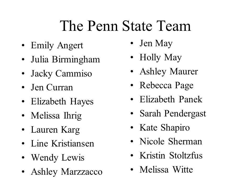 The Penn State Team Jen May Emily Angert Holly May Julia Birmingham