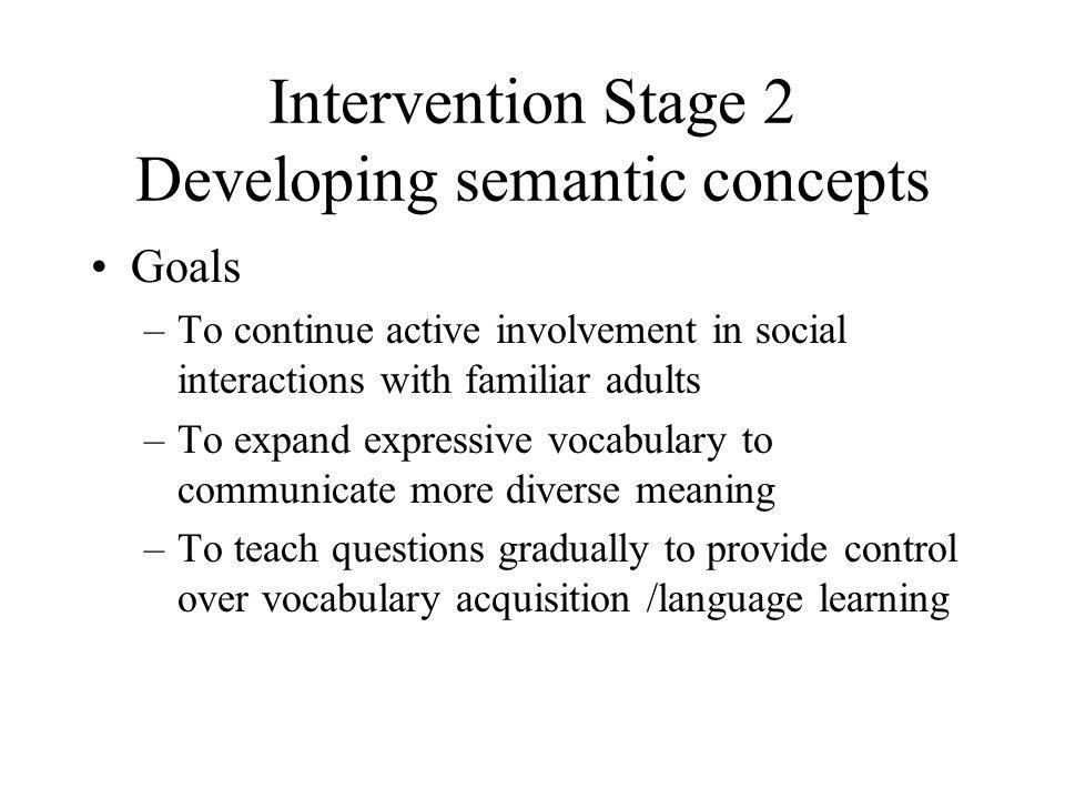 Intervention Stage 2 Developing semantic concepts
