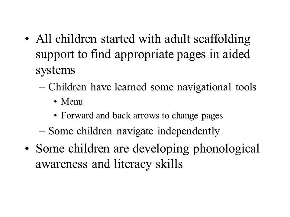 All children started with adult scaffolding support to find appropriate pages in aided systems