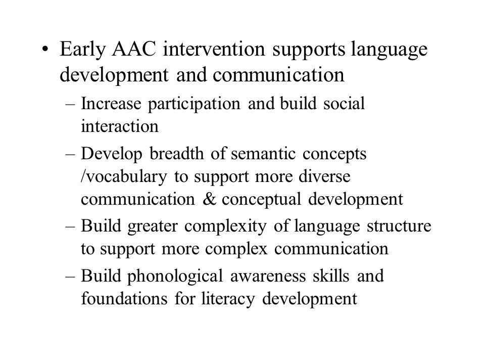 Early AAC intervention supports language development and communication