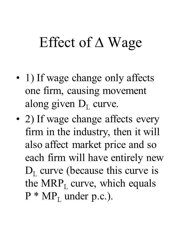 Effect of  Wage 1) If wage change only affects one firm, causing movement along given DL curve.