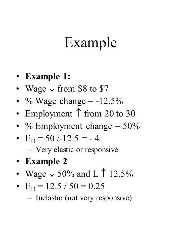 Example Example 1: Wage  from $8 to $7 % Wage change = -12.5%