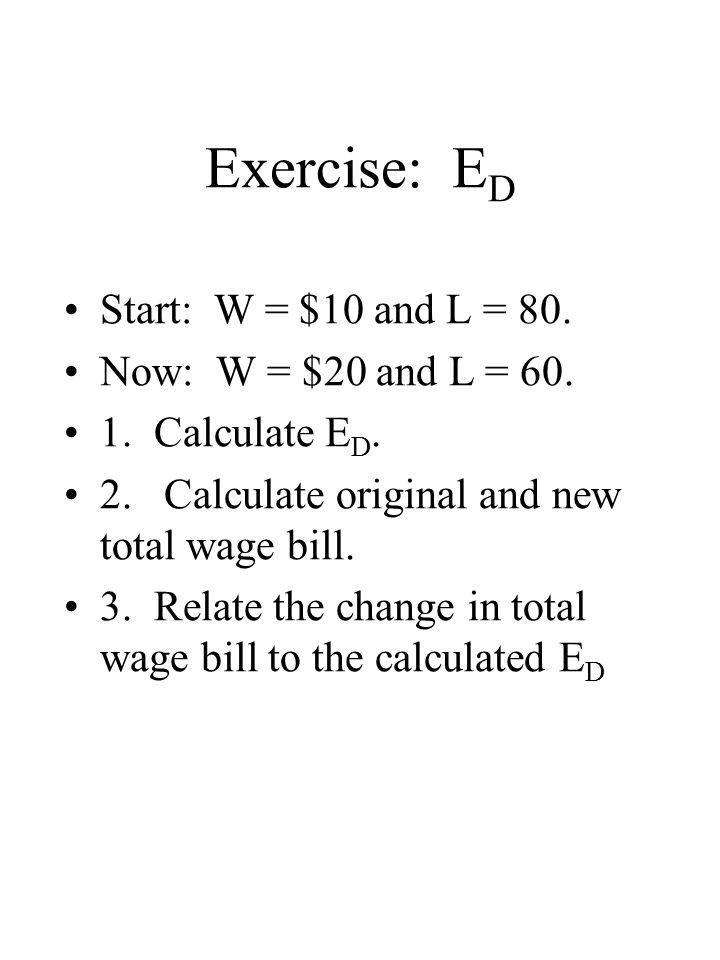 Exercise: ED Start: W = $10 and L = 80. Now: W = $20 and L = 60.