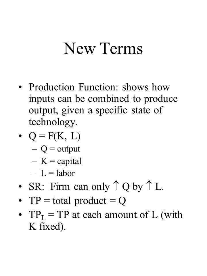 New Terms Production Function: shows how inputs can be combined to produce output, given a specific state of technology.